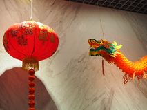Dragon and red lantern Decoration Chinese New Year Festival stock photography