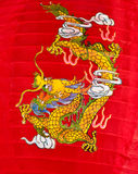 Dragon on red nylon festival lantern Royalty Free Stock Photos