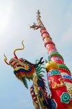 Dragon on red pole. Thailand Stock Photo