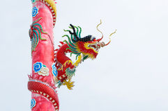 Dragon on red pole Royalty Free Stock Image