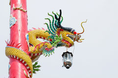 Dragon on red pole Royalty Free Stock Photography