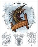 Dragon and ribbon - vector set. Stock illustration Stock Image