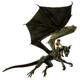 Dragon Rider. Digital render of a young man riding a dragon (isolated version stock illustration