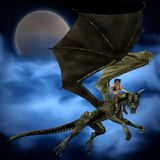 Dragon Rider with background - 1. Digital render of a young man riding a dragon, with background of full moon and swirling blue mist vector illustration