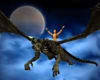 Dragon Rider with background - 2. Digital render of a young man riding a dragon, with background of full moon and swirling blue mist Royalty Free Stock Photos