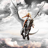 Dragon rider, Blonde female riding the back of a black flying dragon. stock illustration