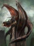 Dragon rider. Ready for attack royalty free illustration