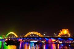 Dragon River Bridge at night Danang Vietnam Stock Photography