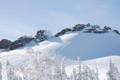 Dragon Rocks. Winter Rocks in Sheregesh mountains Stock Photo