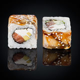Dragon roll, eel, salmon and cream cheese Royalty Free Stock Images
