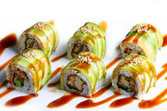 Dragon roll. Japanese food style Royalty Free Stock Image