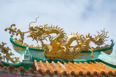 Dragon on roof. Chinese dragon on temple roof stock photos