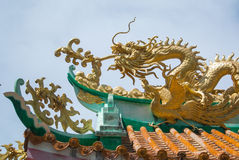 Dragon on roof. Chinese dragon on temple roof stock image