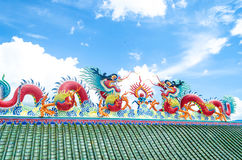 Dragon on the roof of Chinese temple Pattaya Thailand. Dragon on the roof, Chinese temple at Pattaya Thailand Royalty Free Stock Image