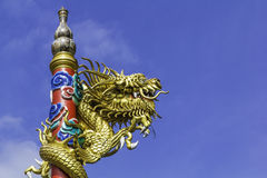 Dragon on roof at chinese temple,thailand Stock Photo