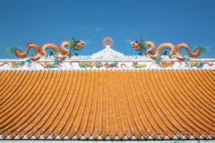 Dragon on the roof. Double Dragon on the chinese roof in blue sky Stock Images