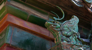 Dragon Roof Figure. The number of roof figures or guardians indicate the importance of the building Stock Image