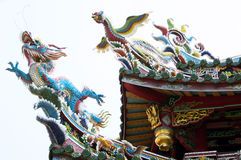 Dragon on the roof of the temple, Taipei Stock Photos