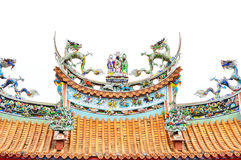 Dragon on the roof of the temple, Taipei Royalty Free Stock Photography