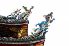 Dragon on the roof of the temple, Taipei Royalty Free Stock Photos