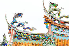 Dragon on the roof of the temple, Taipei Royalty Free Stock Image