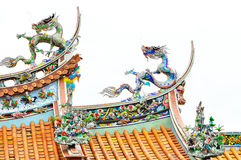 Dragon on the roof of the temple, Taipei Royalty Free Stock Images