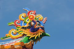 Dragon on roof in temple , thailand. A colorful dragon on the roof of Chinese temple Royalty Free Stock Photos