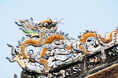 The dragon on the roof top Royalty Free Stock Images