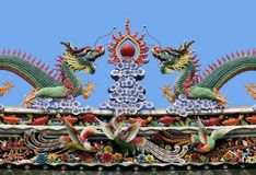 Dragons on a temple roof. Dragon on a roof of a Vietnamese temple stock photography