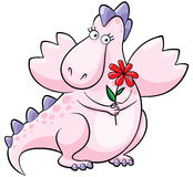 Dragon rose mignon avec la fleur Photos stock
