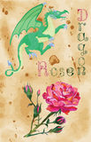 Dragon and rose on paper background Stock Photography