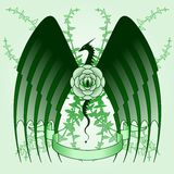 Dragon rose tattoo. Stylized tattoo design featuring dragon and rose vines Stock Photography