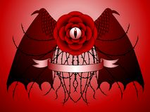 Dragon rose tattoo design. Surreal goth tattoo design combining dragon and rose features Stock Image
