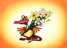 Dragon rouge avec un bouquet des fleurs Photos stock