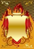 Dragon rouge avec un drapeau d'or Images libres de droits