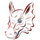 The dragon`s head, drawn in smooth lines stock illustration
