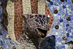 Dragon's head fountain Parc Guell, Barcelona Royalty Free Stock Image