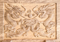 Dragon's relief on marble. In Chinese temple,Thailand Stock Images