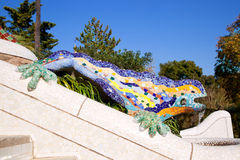 Dragon salamandra of gaudi in park guell. Dragon salamandra of gaudi mosaic in park guell of Barcelona stock images