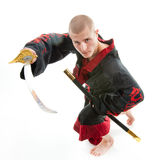 Dragon samurai on white. Man dressed in black dragon kimono demonstrating martial arts combat Stock Photography