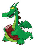Dragon with sausage Royalty Free Stock Image