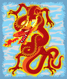 Dragon scene. Artwork inspired with traditional Chinese and Japanese dragon arts vector illustration