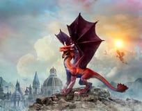 Dragon Scene 3D illustration Royaltyfri Foto
