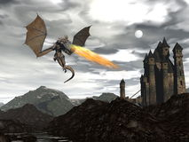 Dragon scenery - 3D render Royalty Free Stock Photography