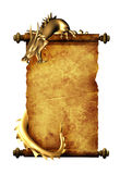Dragon and scroll of old parchment. Object isolated over white Stock Image