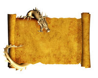 Dragon and scroll of old parchment. Object isolated over white Stock Photos