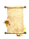 Dragon and scroll of old parchment. Object isolated on white background Royalty Free Stock Photos