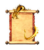 Dragon and scroll of old parchment. Object isolated on white background Stock Images