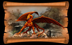 Dragon in the scroll of parchment. Red and yellow dragon on a background of old parchment scroll Stock Photos