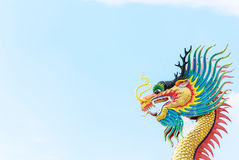 Dragon sculpture against blue sky Royalty Free Stock Photos